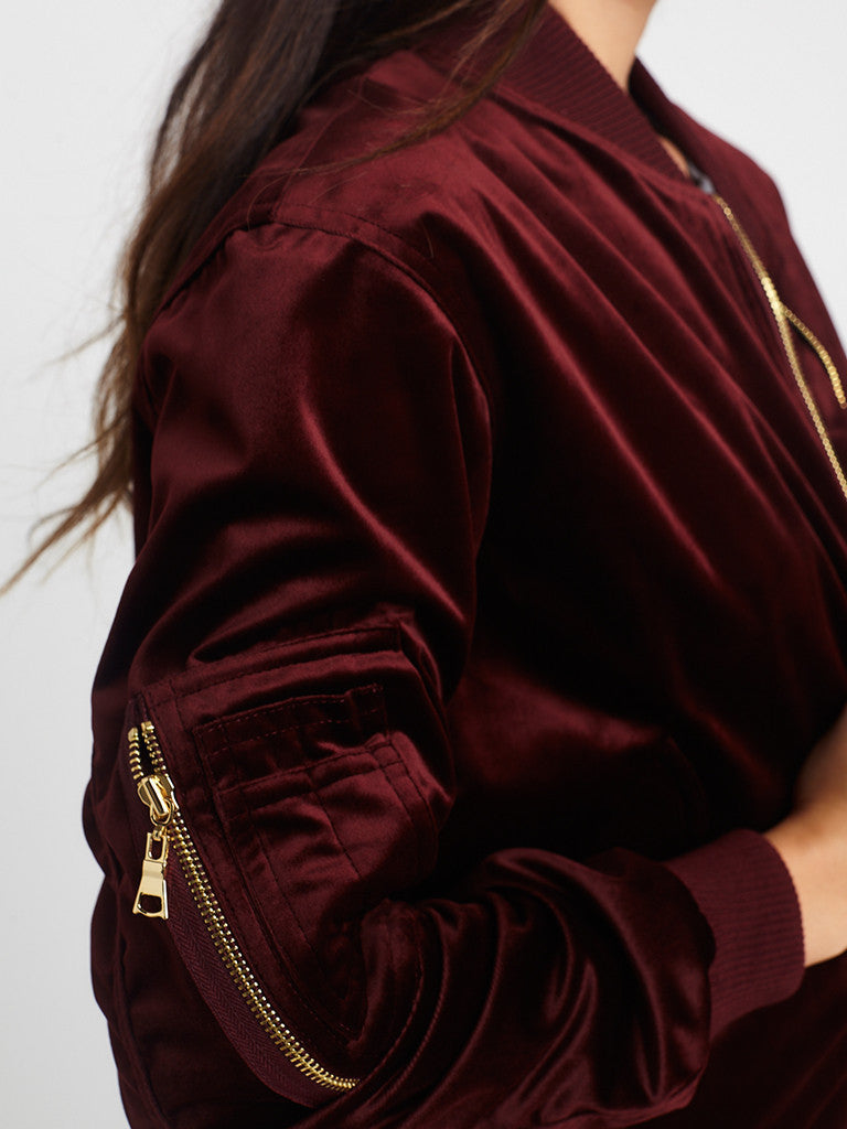 Reckless Girls Womens - Outerwear - Bombers / Varsity Shelby Velvet Bomber Jacket- Burgundy