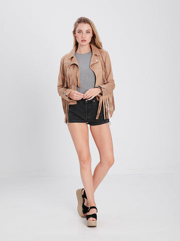 Dylan Fringe Jacket - Brown