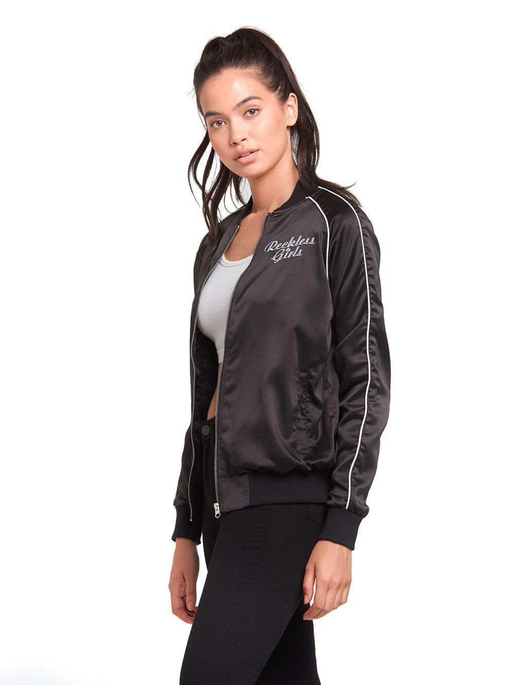 Ladies black leather box jacket