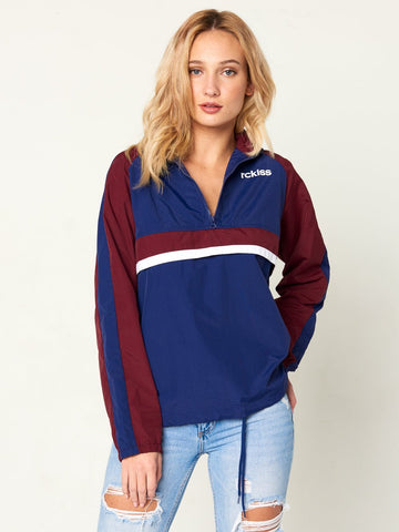 Reckless Girls Womens - Outerwear - Lightweight Jackets May Pullover Jacket - Navy/Burgundy