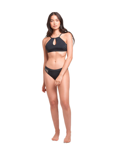 Reckless Girls Womens - Swimwear - Bikini Coral Keyhole Swim Top- Black