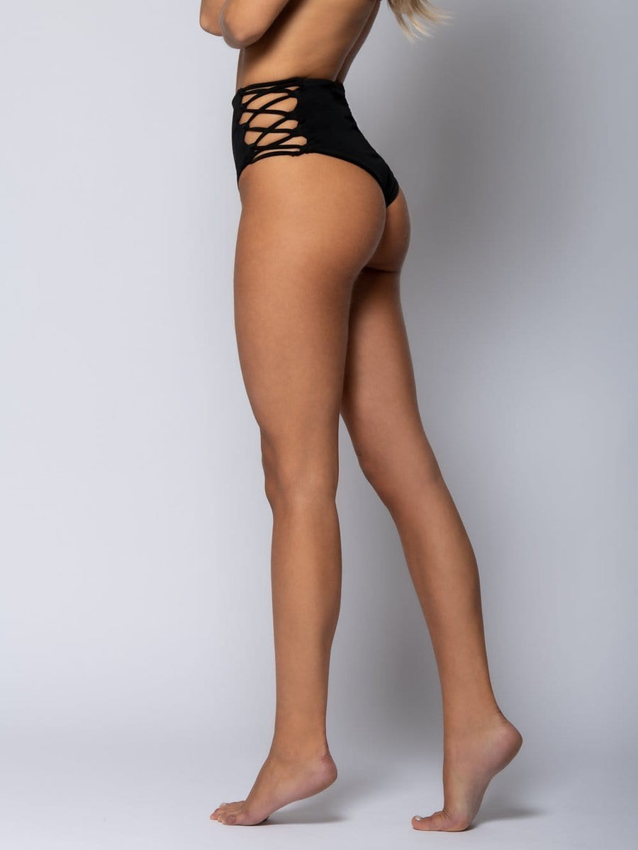 Sunny High Rise Swim Bottom- Black