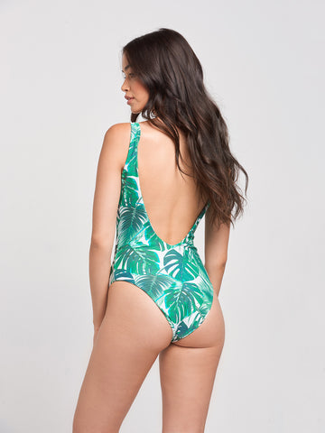Sandy Lace Up One Piece- Palm Tropical