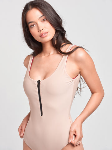Sophia Reversible One Piece- Burgundy/Nude
