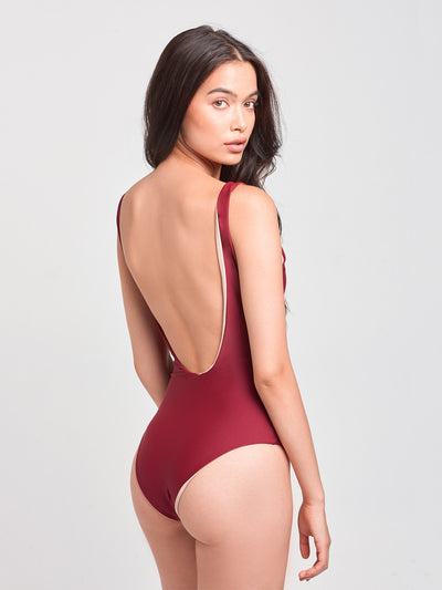 Reckless Girls Womens - Swimwear - One Piece Sophia Reversible One Piece- Burgundy/Nude
