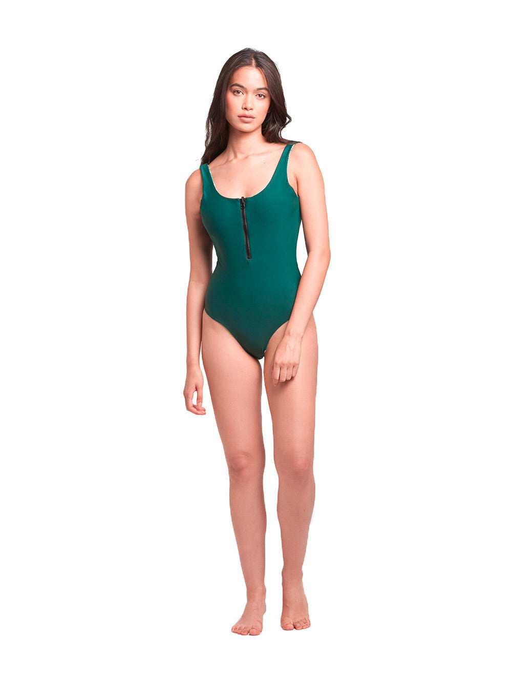 Reckless Girls Womens - Swimwear - One Piece Sophia Reversible One Piece- Forest Green/Tropical Palm