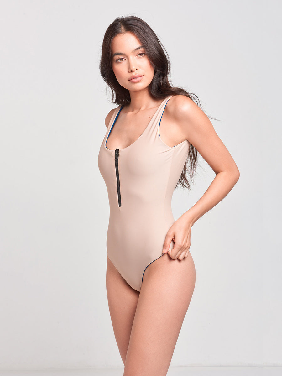 Sophia Reversible One Piece- Navy/Nude