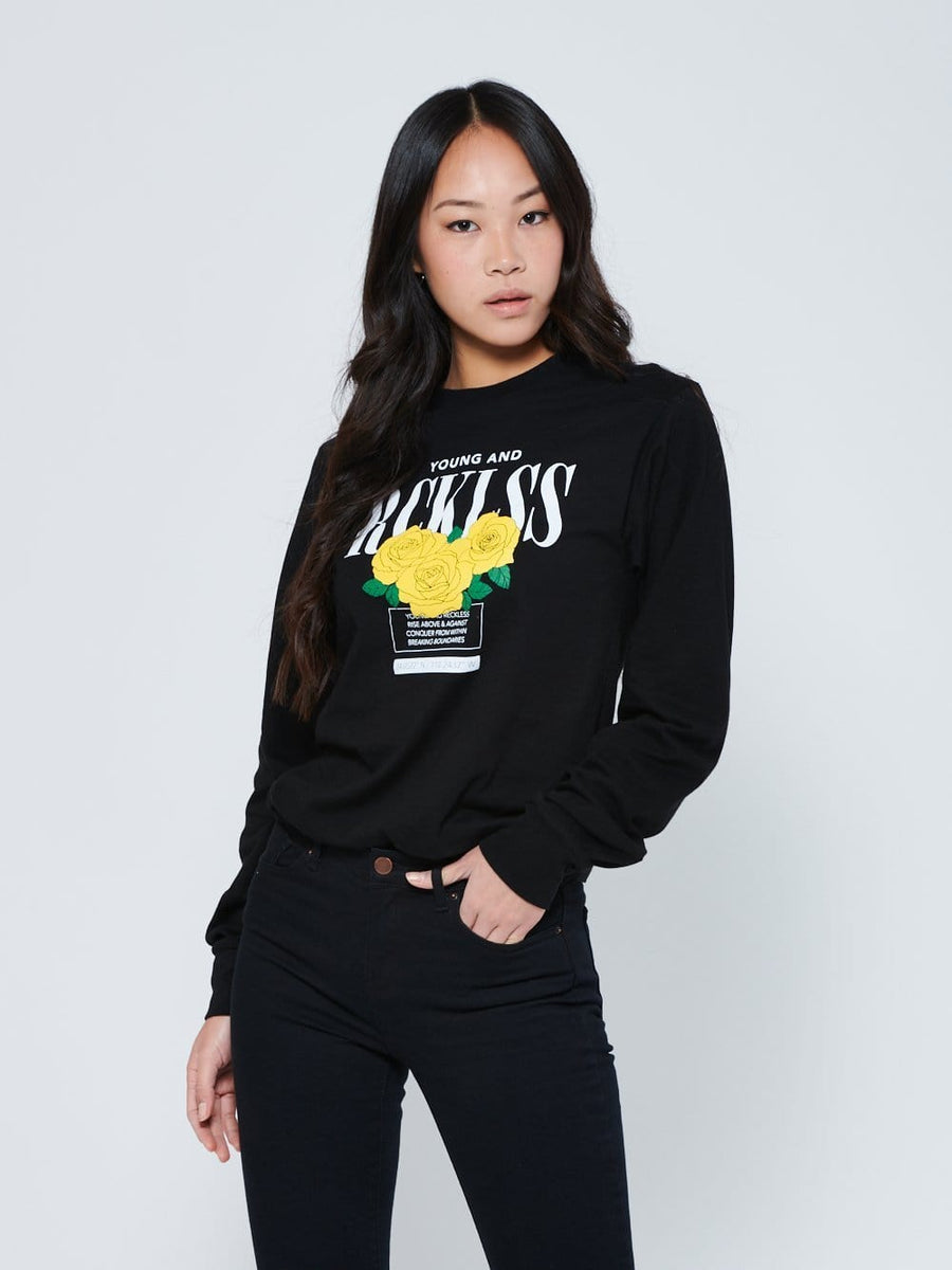 Reckless Girls Womens - Tops - Long Sleeve Blossom Long Sleeve - Black