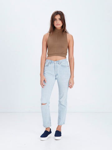 Lori Crop Top- Taupe