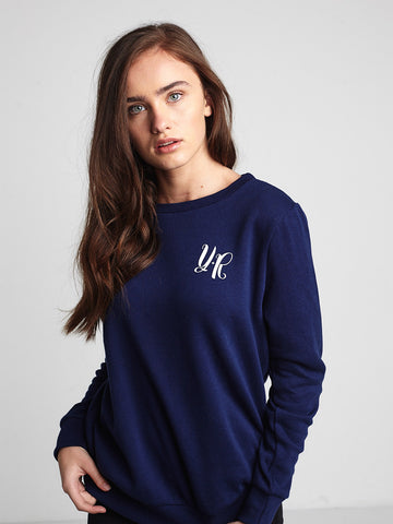Reckless Girls Womens - Tops - Sweatshirts Bold Curve Crewneck Fleece- Navy