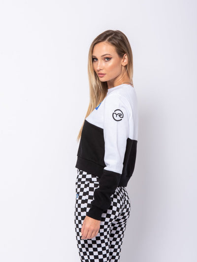 Reckless Girls Womens - Tops - Sweatshirts Davina Crewneck - White/Black
