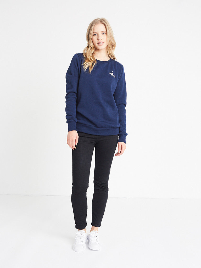 Reckless Girls Womens - Tops - Sweatshirts Dual Script Crewneck Fleece- Navy