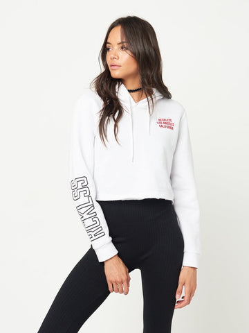 Reckless Girls Womens - Tops - Sweatshirts Faye Crop Hoodie- White