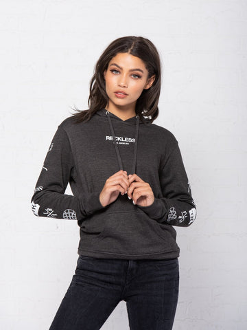 Reckless Girls Womens - Tops - Sweatshirts Head 2 Head Jr Hoodie - Charcoal Grey