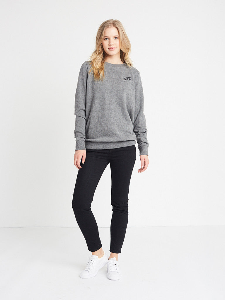 Reckless Girls Womens - Tops - Sweatshirts Initials Crewneck Fleece- Charcoal Grey