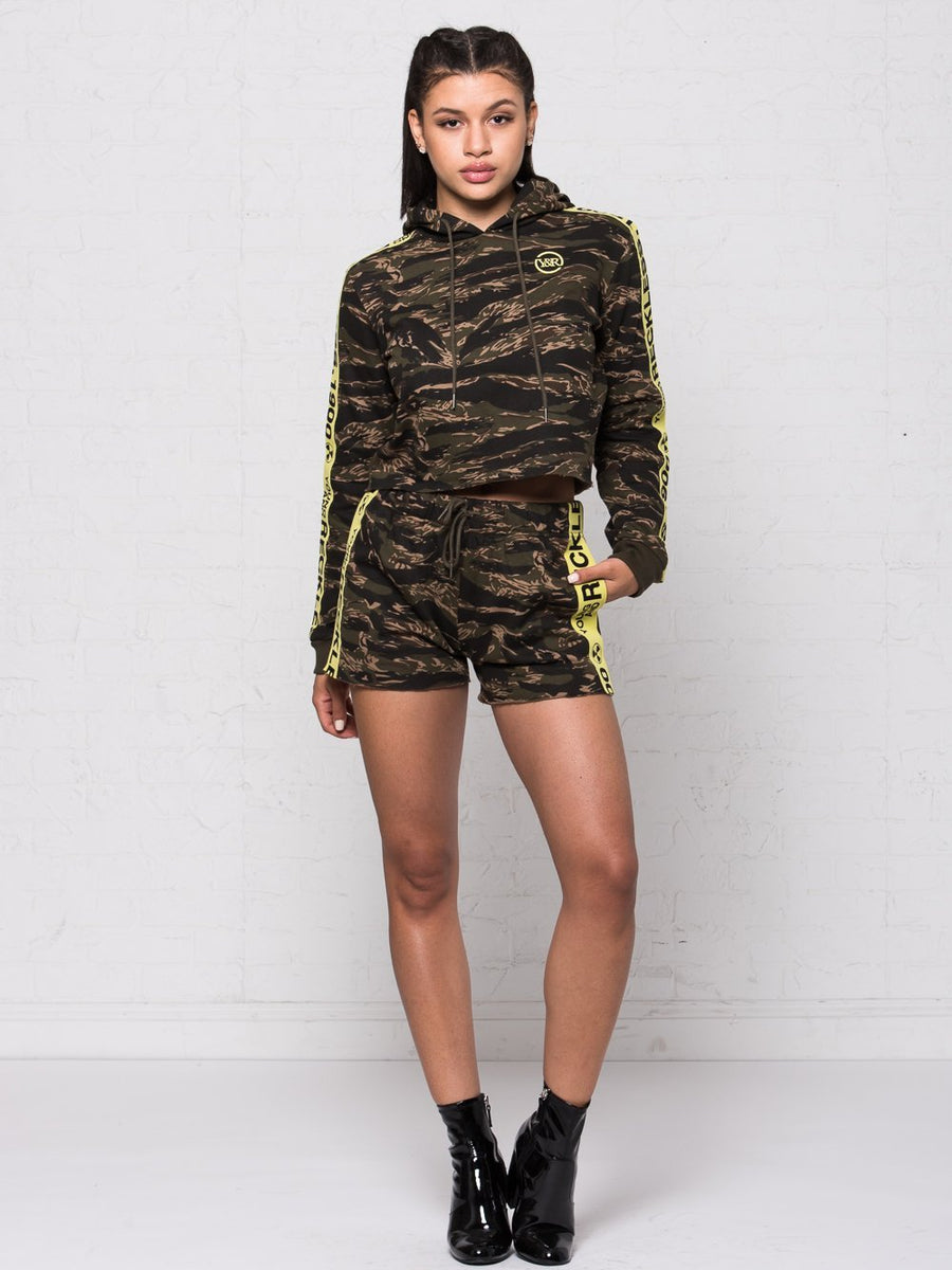 Invincible Jr. Crop Hoodie - Tiger Camo