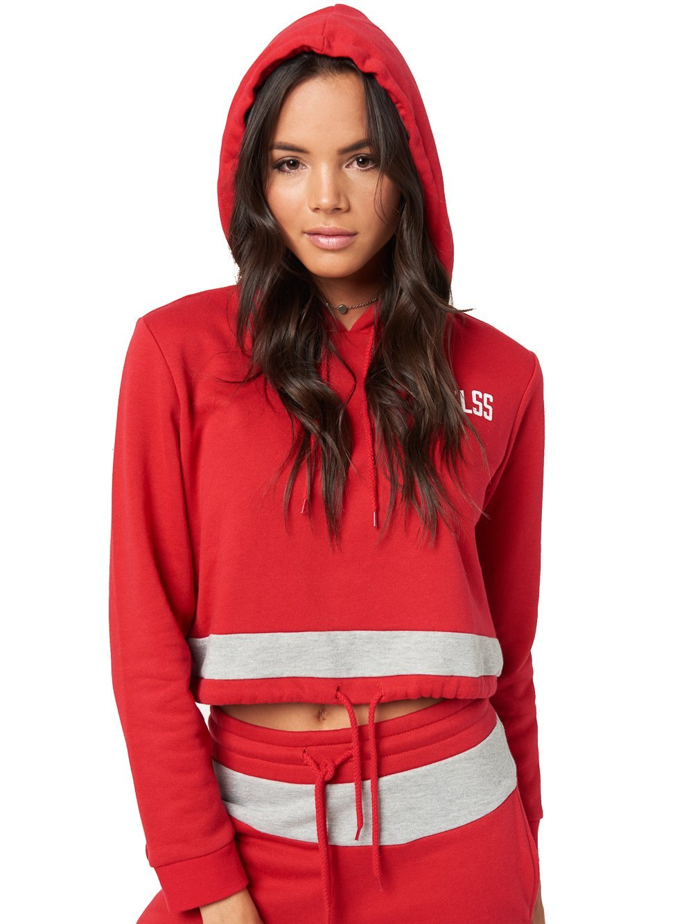 Reckless Girls Womens - Tops - Sweatshirts Jace Crop Hoodie- Red