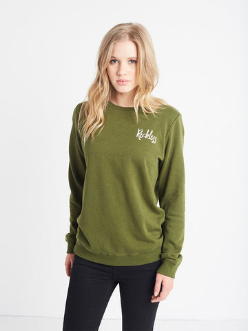 Reckless Girls Womens - Tops - Sweatshirts Steady Flow Crewneck Fleece- Olive