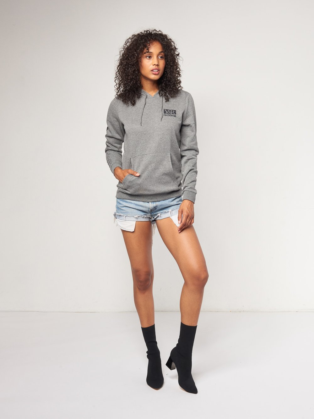 Reckless Girls Womens - Tops - Sweatshirts Valerie Hoodie- Charcoal