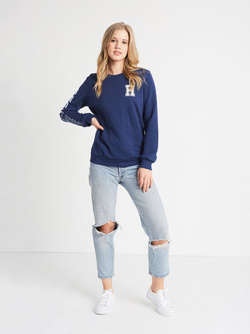 Reckless Girls Womens - Tops - Sweatshirts Varsity Player Crewneck Fleece- Navy