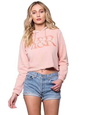 Reckless Girls Womens - Tops - Sweatshirts YR Overlap Crop Hoodie - Mauve