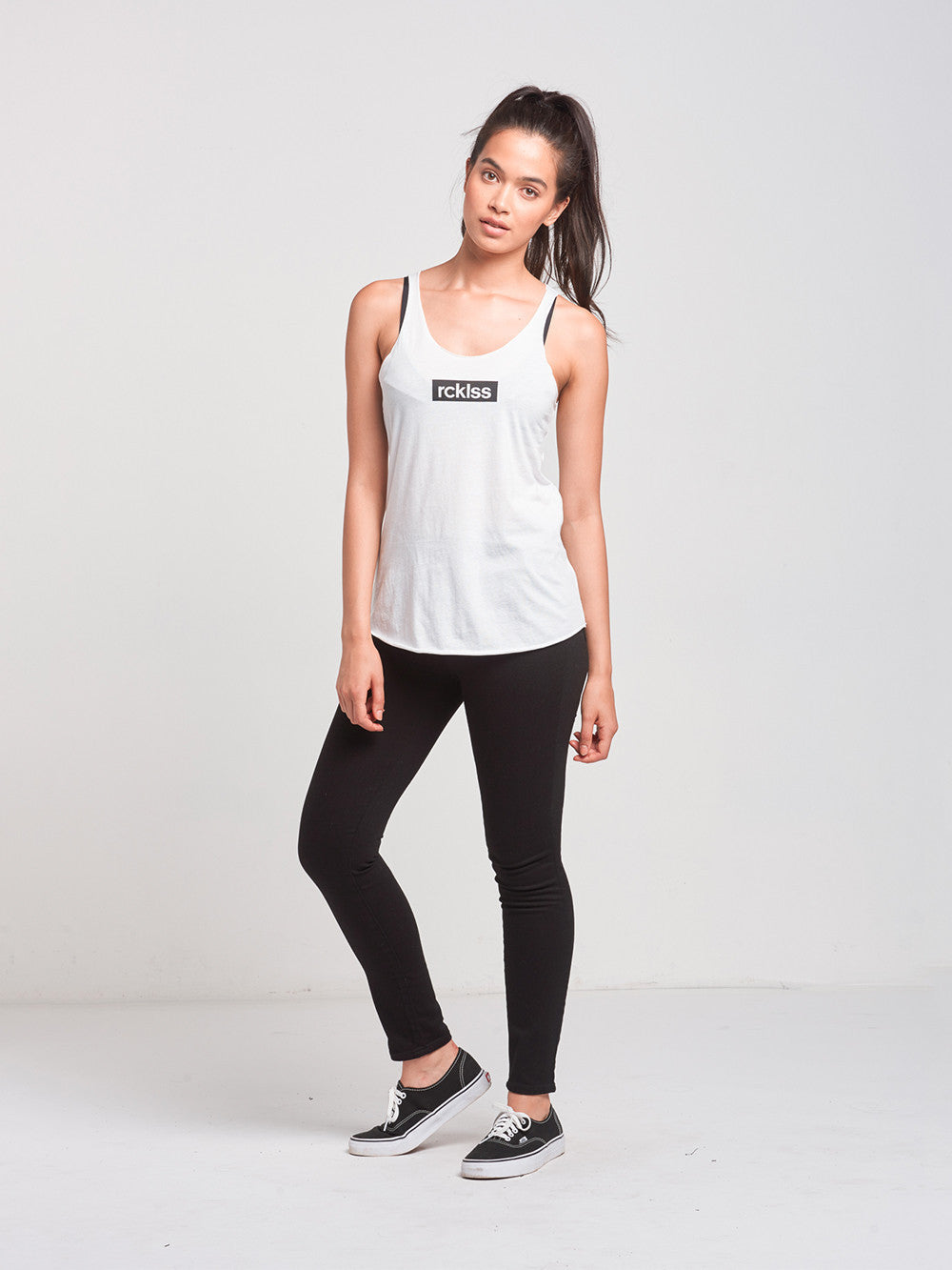 Reckless Girls Womens - Tops - Tanks Boxed In Racerback Tank- White