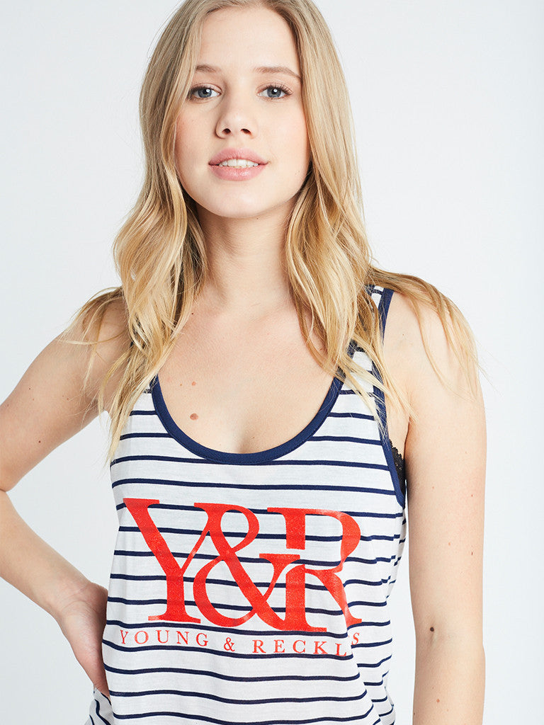 Reckless Girls Womens - Tops - Tanks Core Logo Double Scoop Tank- Print