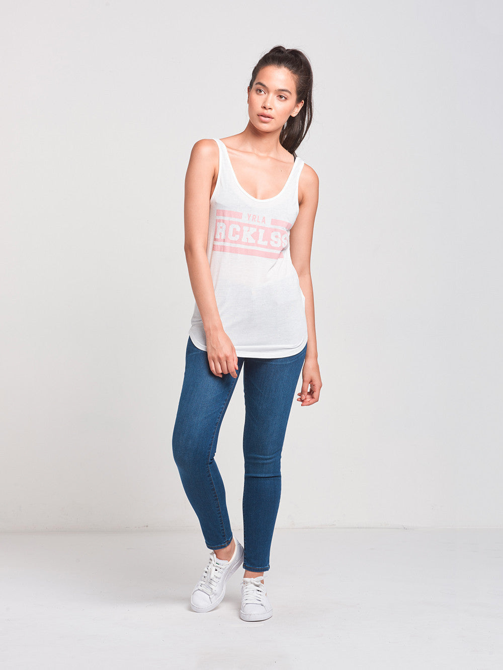 Reckless Girls Womens - Tops - Tanks Interfere Double Scoop Tank- White