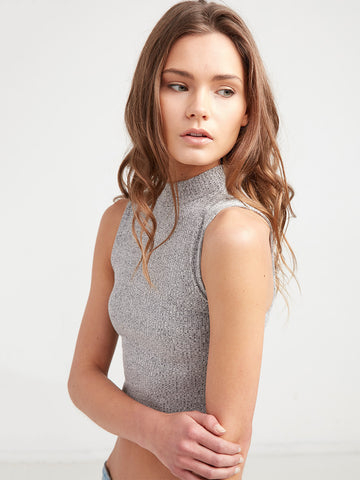 Phoebe Fitted Rib Tank - Grey