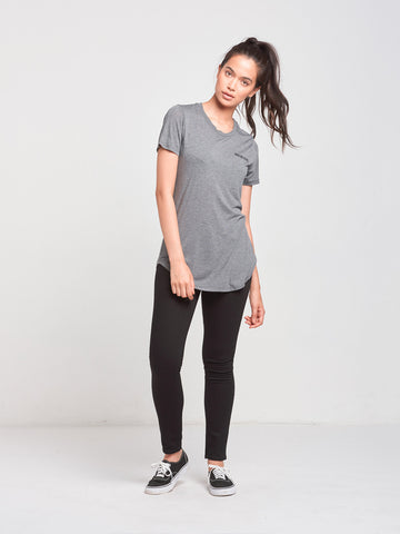 Curves Long Scoop Tee- Charcoal