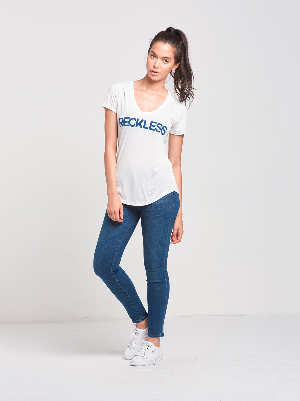 Reckless Girls Womens - Tops - Tees Curves Scoop Neck Tee- White