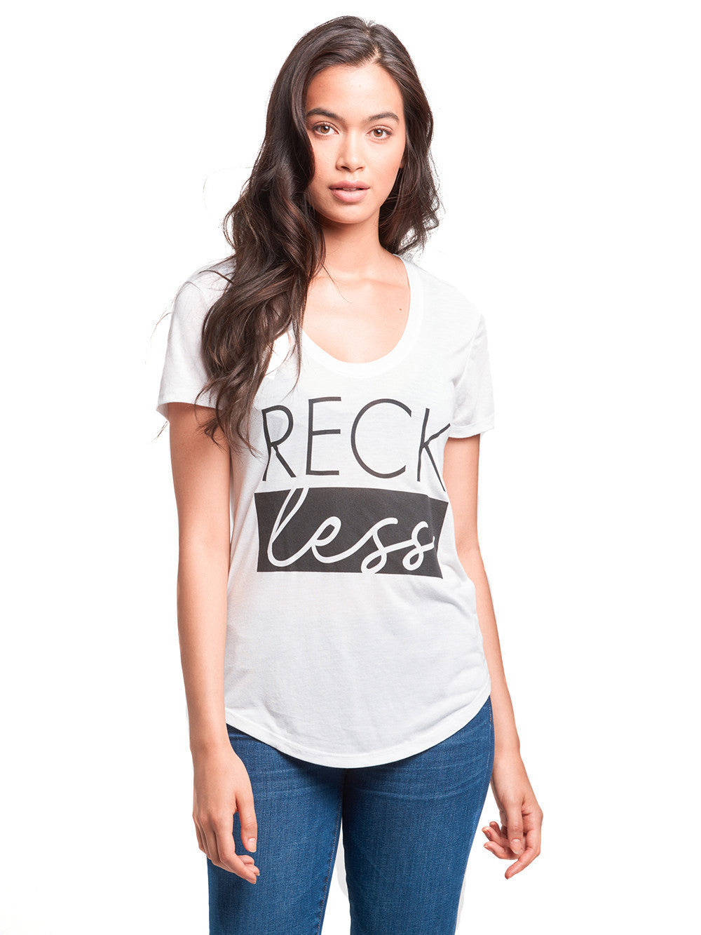 Reckless Girls Womens - Tops - Tees Diverse Scoop Neck Tee- White