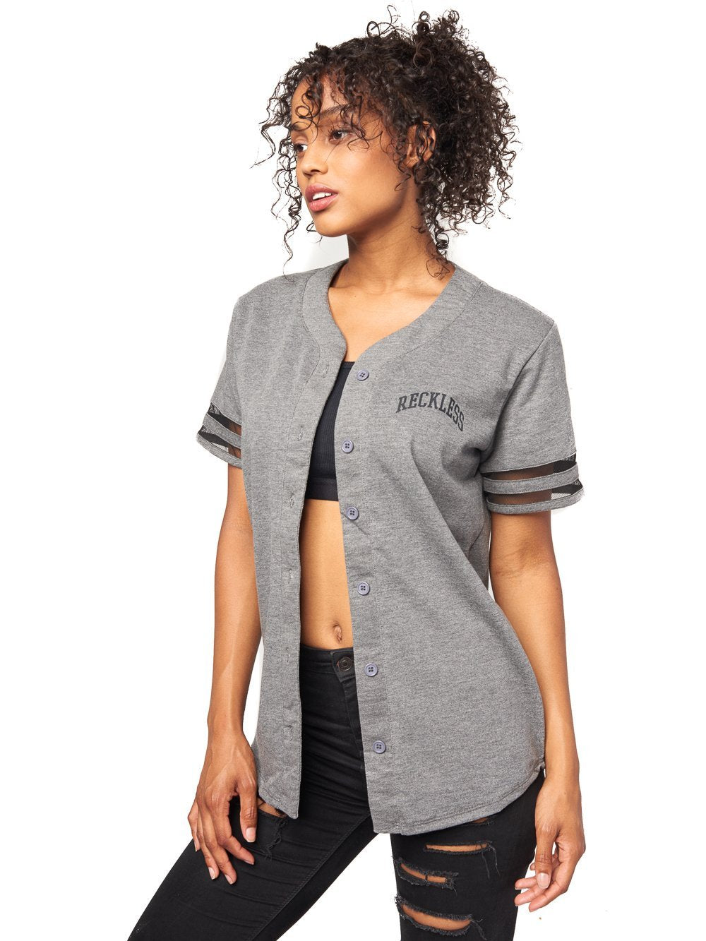 Reckless Girls Womens - Tops - Tees Drill Baseball Jersey- Charcoal