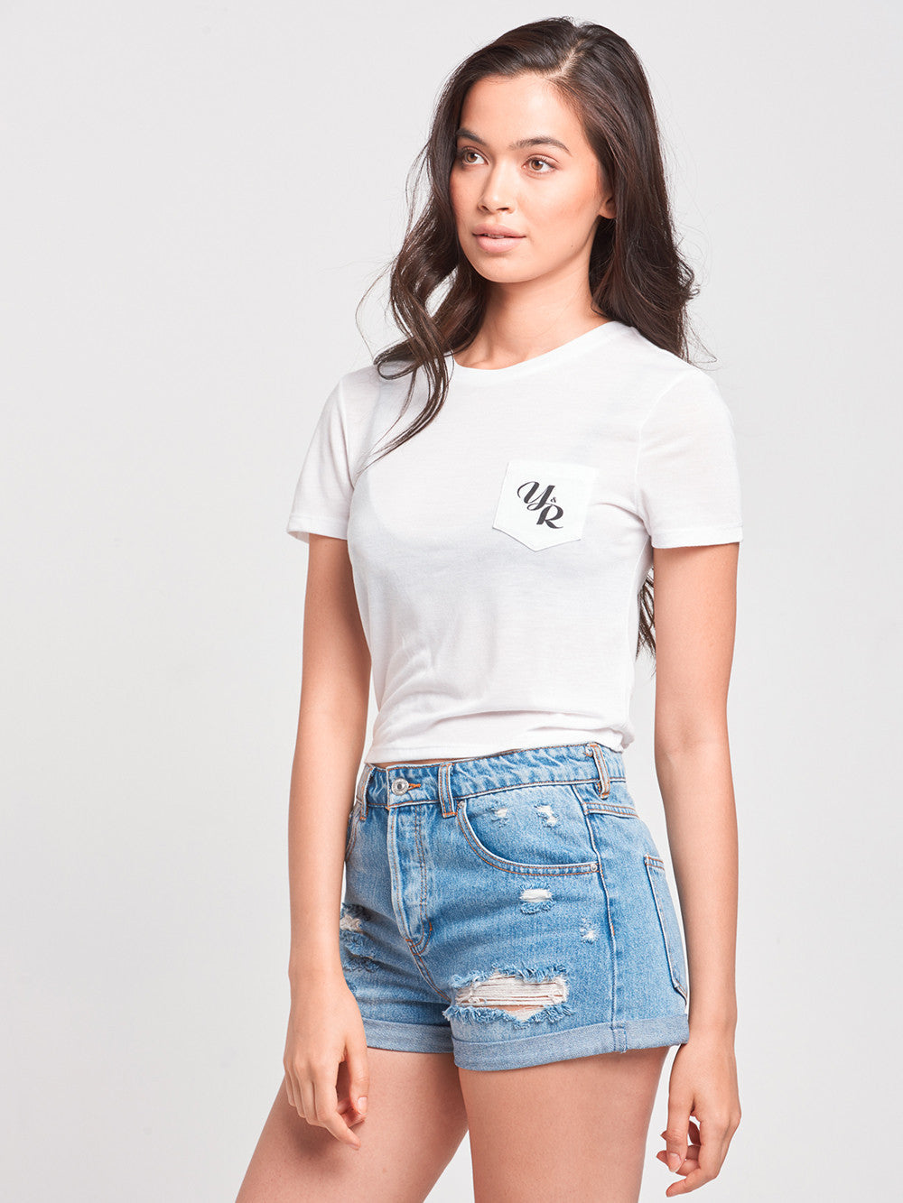 Reckless Girls Womens - Tops - Tees Elegant Cropped Pocket Tee- White