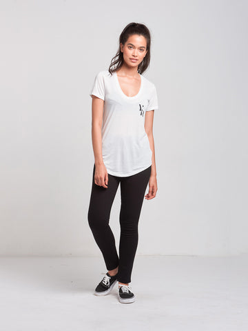 Gatsby Scoop Neck Tee- White