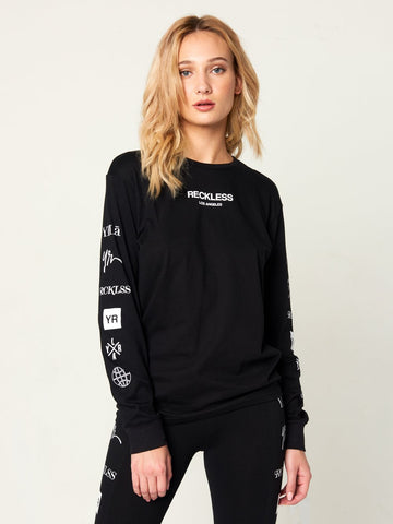 Reckless Girls Womens - Tops - Tees Head2Head Jr Long Sleeve Tee - Black