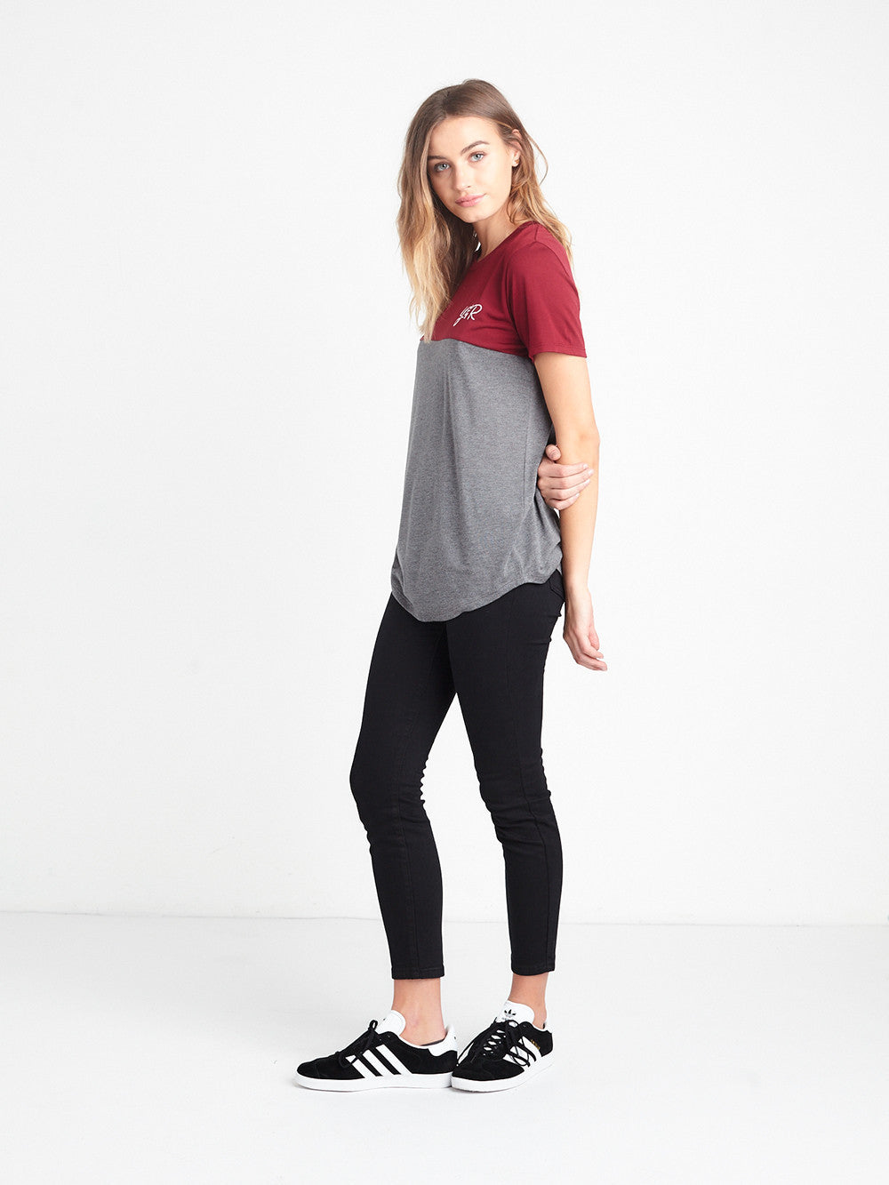 Reckless Girls Womens - Tops - Tees Initials Long Scoop Tee - Burgundy/Heather