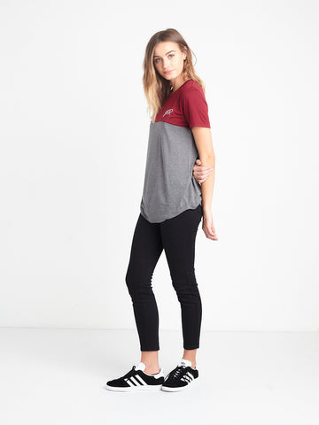 Initials Long Scoop Tee - Burgundy/Heather
