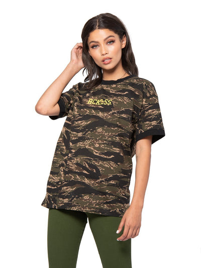 Reckless Girls Womens - Tops - Tees Miles Tee - Green Camo