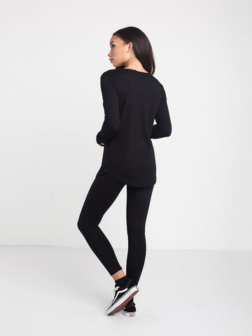 Native Long Sleeve Scoop Bottom Tee - Black