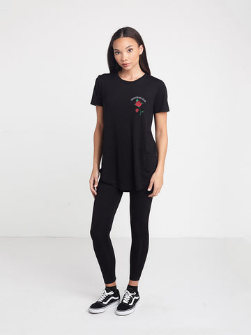 No Feelings Long Scoop Tee- Black