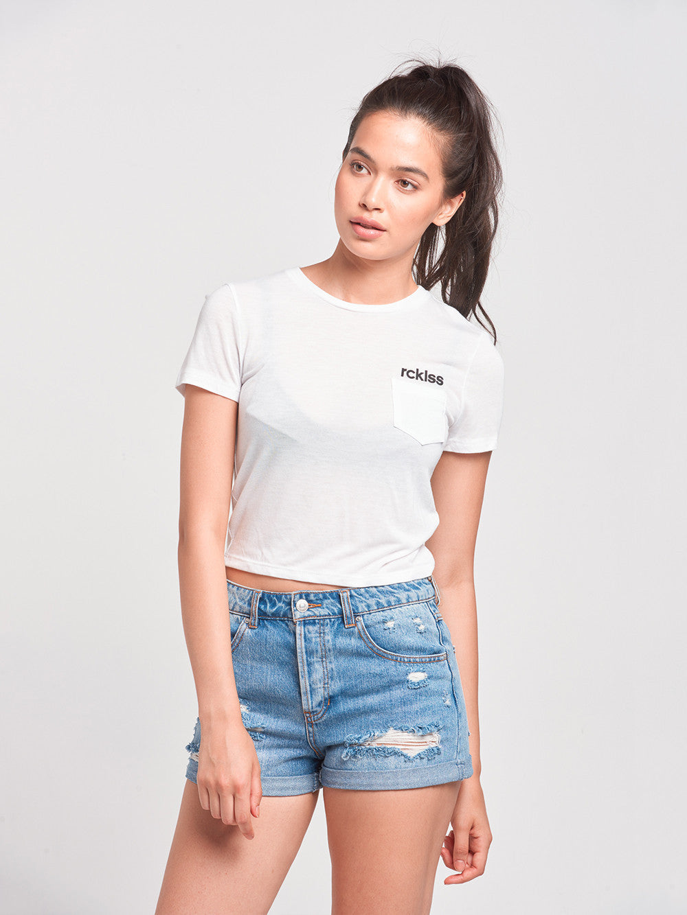 Reckless Girls Womens - Tops - Tees Overturn Cropped Pocket Tee- White