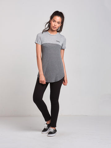 Overturn Long Scoop Tee- Grey