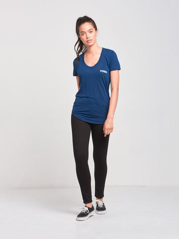 Overturn Scoop Neck Tee- Navy