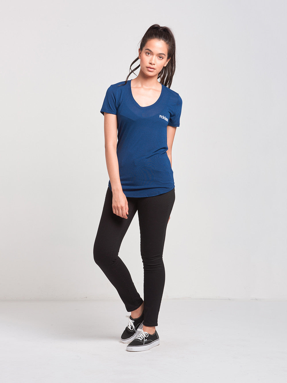 Reckless Girls Womens - Tops - Tees Overturn Scoop Neck Tee- Navy