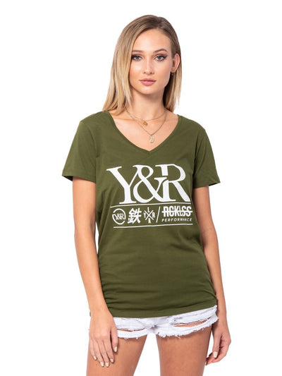Reckless Girls Womens - Tops - Tees Overview V Neck Tee - Olive Green