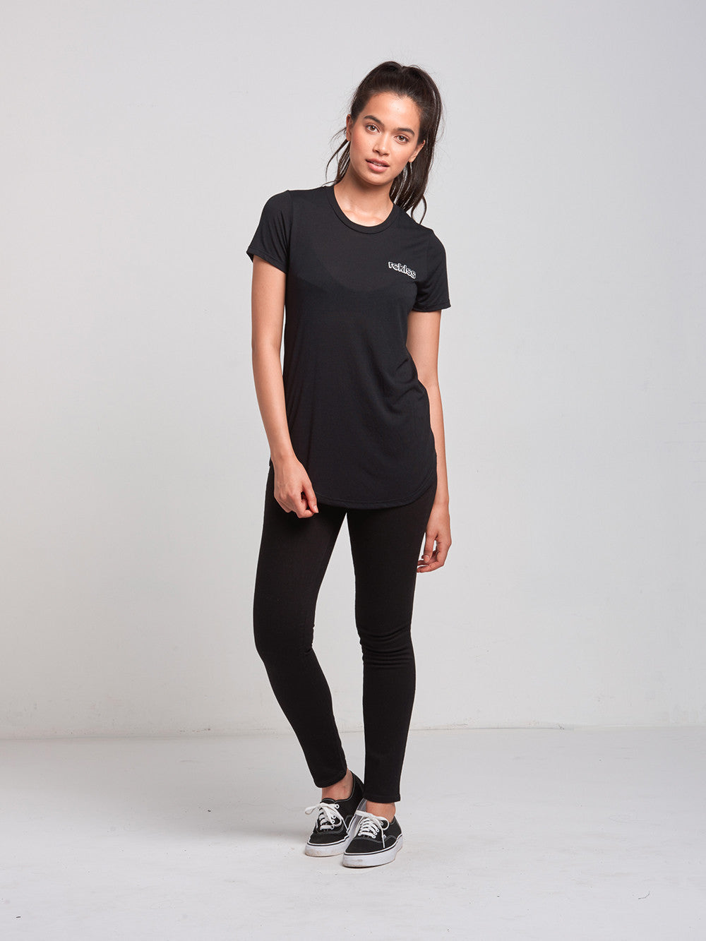 Reckless Girls Womens - Tops - Tees Pop Up Long Scoop Tee- Black