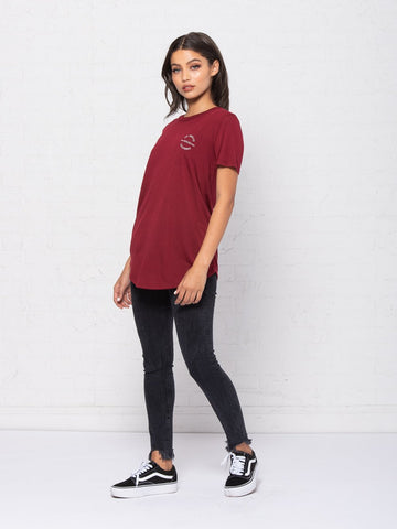 Rcklss Native Long Scoop Tee - Burgundy