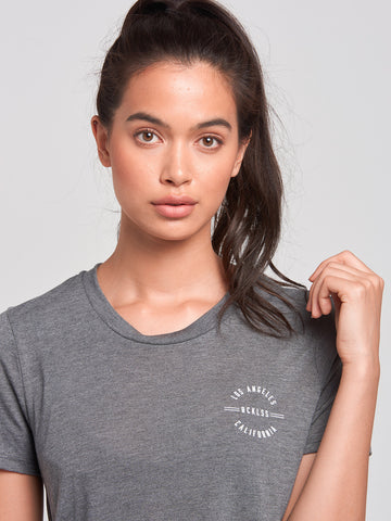 Reckless Girls Womens - Tops - Tees Reckless Native Long Scoop Tee- Charcoal