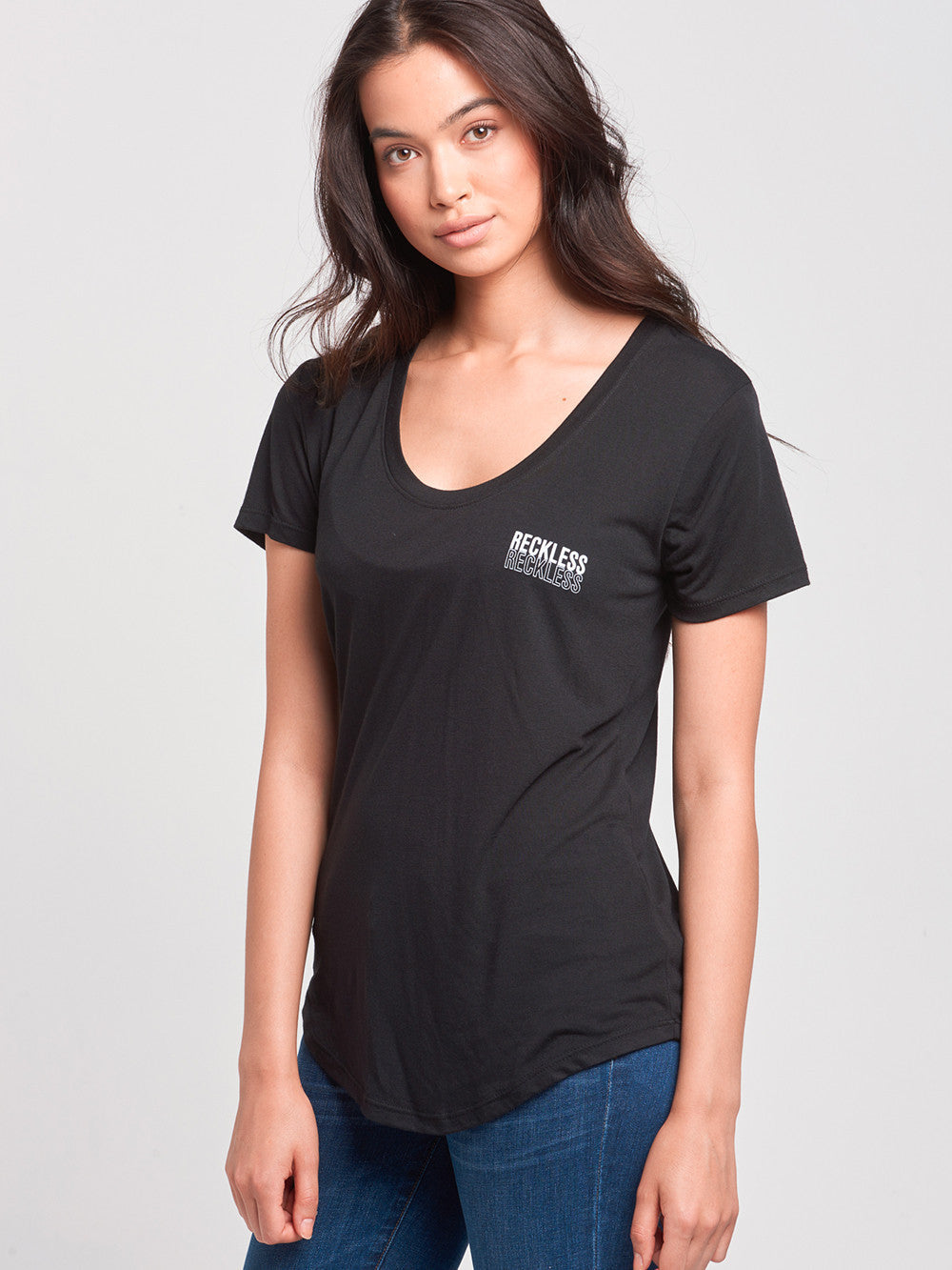 Reckless Girls Womens - Tops - Tees Reflect Scoop Neck Tee- Black